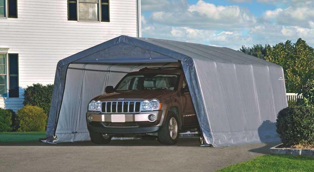 Тентовый гараж 3,7х6,1х2,4 серый