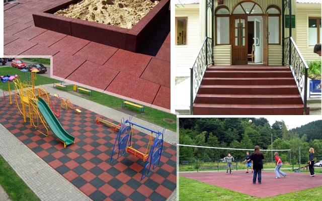 Резиновая плитка - благоустройство загородных жилых территор.