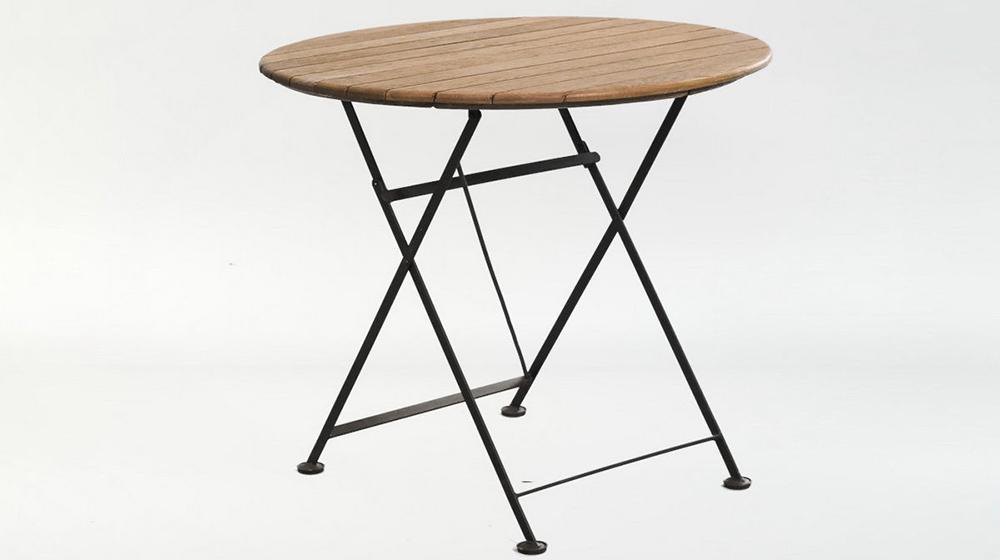 складной стол ковка+дуб (круглый)